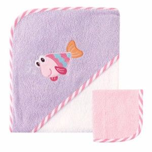 Baby HOODED TOWEL & WASHCLOTH. Pink or Blue. NWT